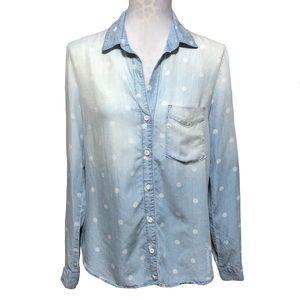 Anthropologie Polka Dot Chambray Blouse Shirt